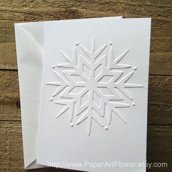 Snowflake cards white embossed note cards greeting card etsy image 0 m4hsunfo