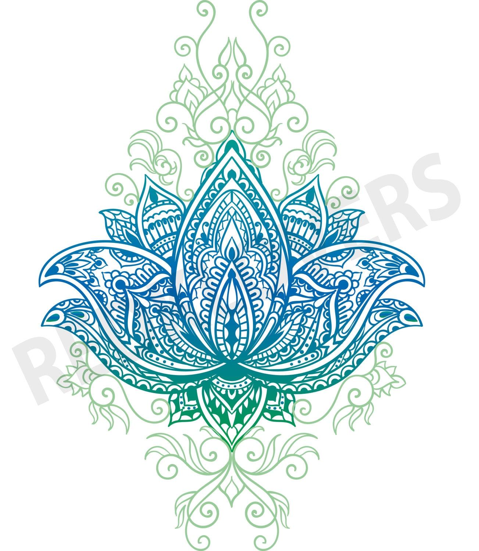 Svg Dxf Lotus Flower Bali Mandala Boho Yoga Henna Art Digital Etsy