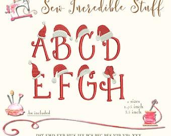 Christmas Alphabet Machine Embroidery Designs - PES Font - BX Font - 2 sizes - 11 formats dst emd exp hus jef pcs pec vip vp3 xxx