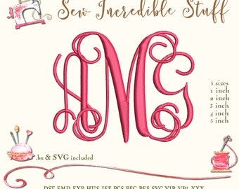 Three Initial Interlocking Vine Machine Embroidery and SVG Monogram Font, BX Font, PES Font, 5 sizes, 11 embroidery formats