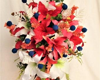 Coral Wedding Bouquet, Silk Bouquet, Wedding Bouquet, Extra Large Wedding Bouquet, Wedding Bouquet Royal Blue, Bridal Bouquet