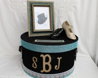 Turquoise and Gold Money Box, Bridal Shower Card Box, Elegant Wedding Card Box, Wedding Money Box, Gold Wedding, Bride and Groom Card Holder