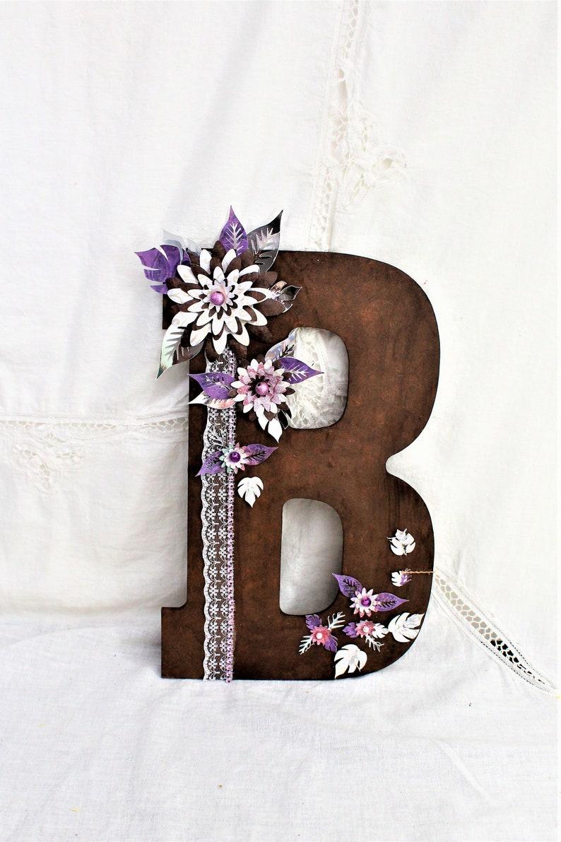 Wedding Nursery Letter Wood letter B Purple White Wedding Wood Initials Paper Flowers Rustic Wedding Letter Wedding Letter Initial