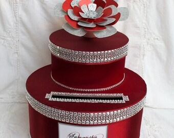 Burgundy Wedding Decor, Wedding Card Box Holder, Wedding Card Box Slot, Wedding Card Box Silver, Wedding Money Card Holder, Wedding Elegant