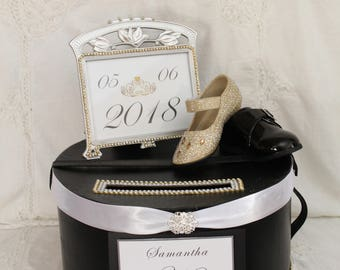 Gold and Black Card Box, Black Wedding Card Holder, Elegant Wedding Card Box, Wedding Money Box, White Wedding, Bride and Groom Card Holder