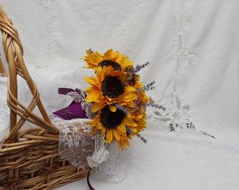 Dried Flower Bouquet, Wedding Bouquet, Plum Dried Rose Bouquet, Bridal Wedding Wine Bouquet, Sunflower Bouquet, Wedding Sunflower Bouquet
