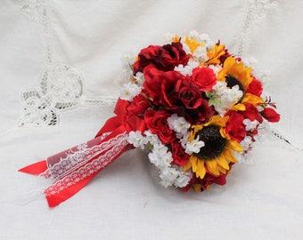 Red Rose Bouquet, Sunflower Bouquet, Rustic Barn Wedding, Fall Wedding Bouquet, Rustic Wedding Bouquet, Sunflowers, 2 piece Bridal Bouquet