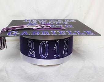 Graduation 2018, Graduation Party, Graduation Centerpieces, Senior 2018, Card Box Graduation, Card Box, Purple Graduation, White Graduation