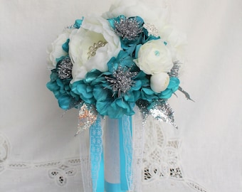 Turuqoise Wedding Bouquet, Peony Bouquet, Silver Wedding, Jewelry Bouquet, Wedding Bouquet, Silk Flower Bouquet, Elegant Wedding Bouquet
