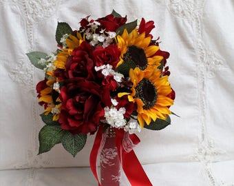 Red Rose Bouquet, Sunflower Bouquet, Rustic Barn Wedding, Fall Wedding Bouquet, Rustic Wedding Bouquet, Sunflowers