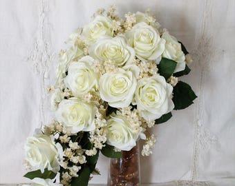White Rose Bridal Bouquet, Bridal Bouquet Cascade, Cascade Bridal Bouquet, Silk Flower Bridal Bouquet, White Wedding Bouquet Wedding Bouquet