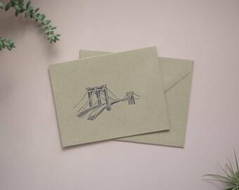 Handmade Brooklyn Bridge Cards / Stationery (set of 5)