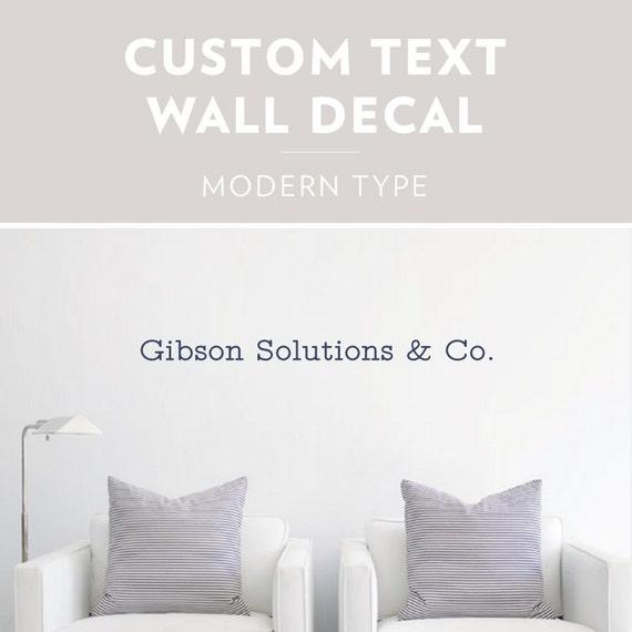 modern type custom text wall decal custom wall sticker | etsy