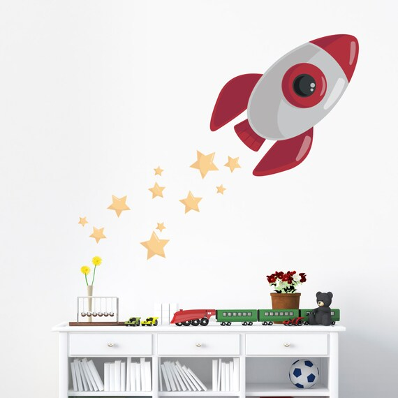 Blast Off Rocketship Wall Decal Space Decal Kids Room Wall Etsy