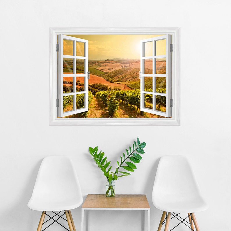 Wall Decor Printed Wall Decal Wall Mural Vineyard Wine Country Apartment Decor Sunkissed Vineyards Window Mural- Removable Wall Decal