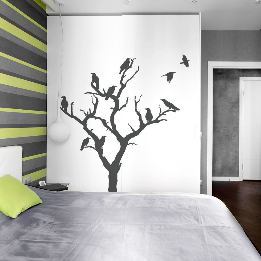 Crow Tree Wall Decal Nature Wall Decal Spooky Wall Art Etsy