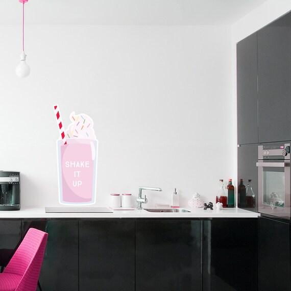 Milkshake imprimé sticker mural autocollant - salle à manger ...