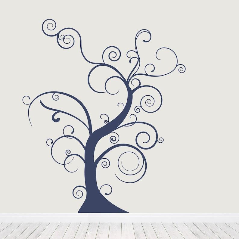 Nursery Tree Sticker Skinny Tree Curly Tree Tree Wall Sticker Branch Wall Art Thin Bare Whimsical Tree Wall Decal Nature Wall Decal