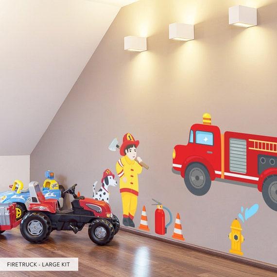 Feuerwehr Gedruckt Wandtattoo Kinderzimmer Wand Dekor Etsy