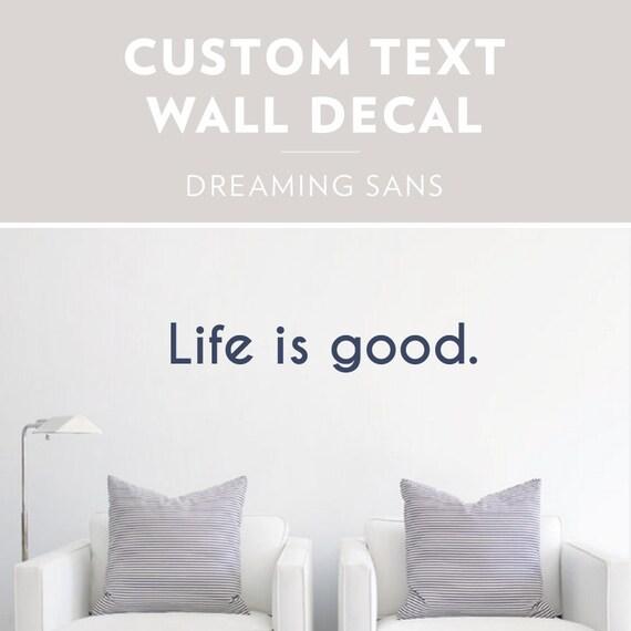 dreaming sans custom text wall decal custom wall sticker   etsy