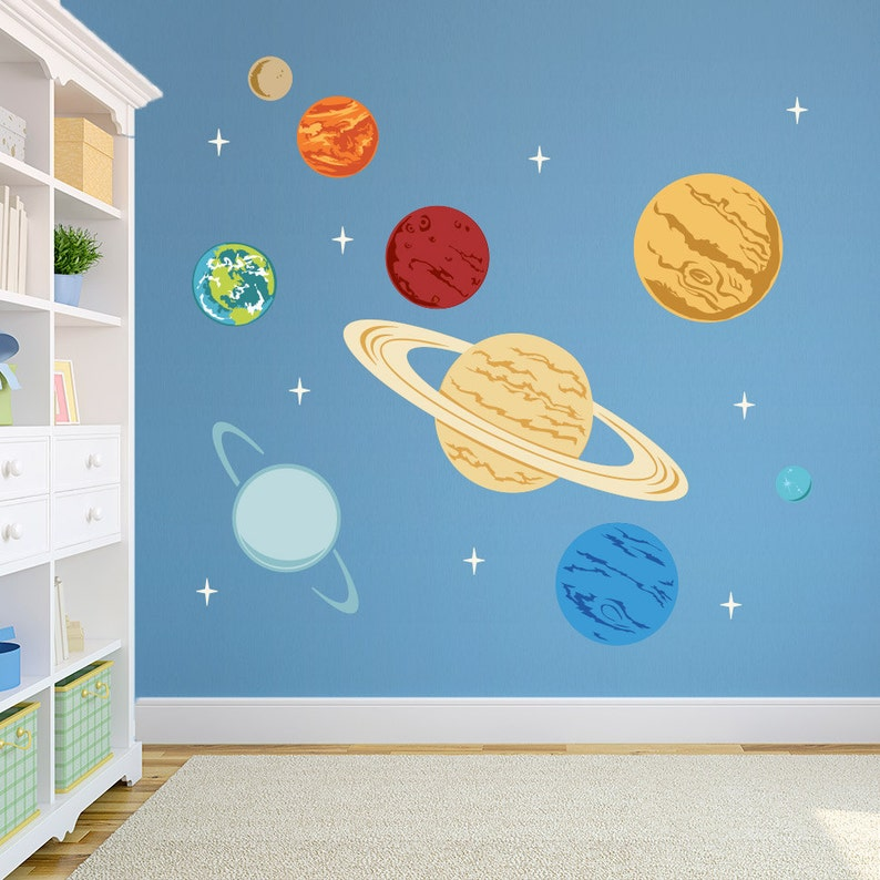 planets printed wall decal space decal solar system decal | etsy