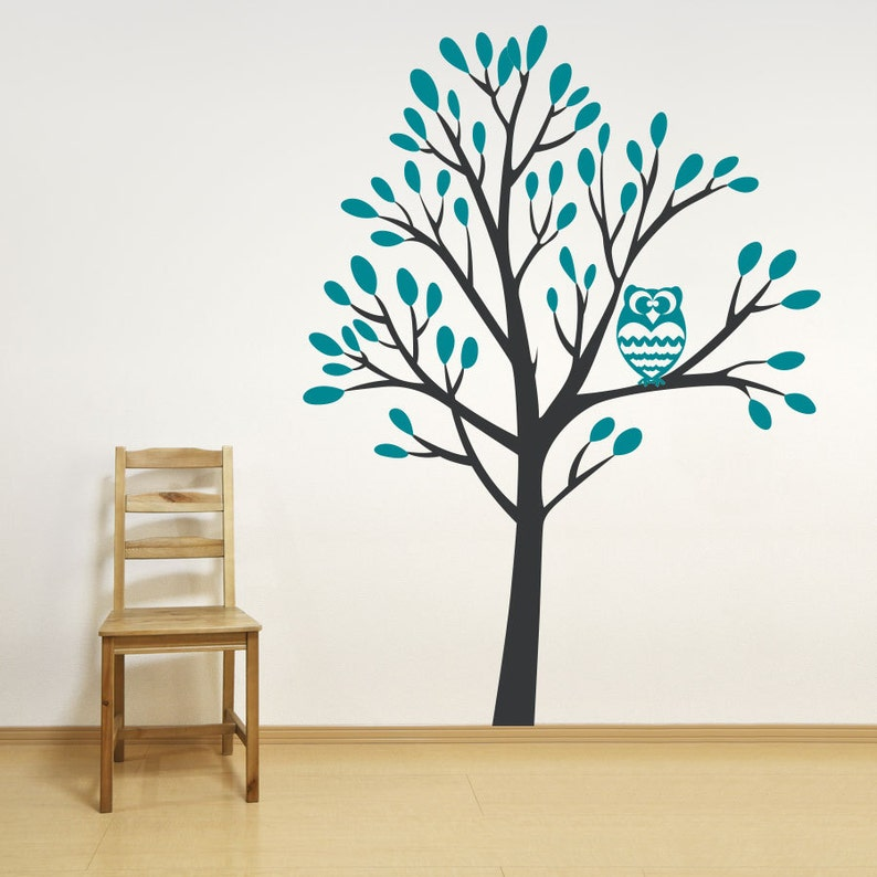 Nature Wall Decal Nursery Tree Sticker Owl Tree Decal 7 foot Owl in a Tree Wall Decal -Tree Wall Sticker Living Room Art Owl Wall Decor