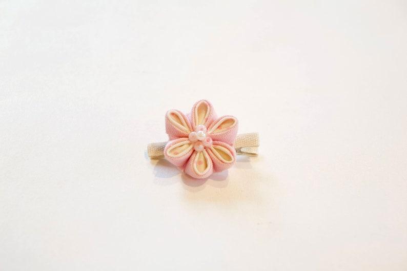 Pink polka dot floral Hair clip