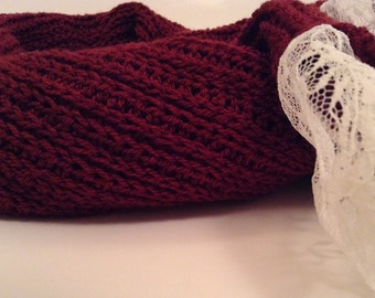 Lace Edged Scarf, Maroon Crochet Scarf, Extra Long Scarf, Corchet Ribbed Scarf, Gift for her, Valentine's Day Gift