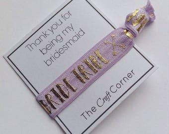 Lavender Bride Tribe Hair Ties, Bridesmaid Proposal Gift
