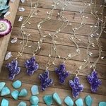 """AMETHYST CACTUS LIGHTENING charm necklace // gold // sparkle // magic // 30"""" ready to ship"""