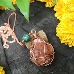 Aragonite cluster & African Turquoise copper macrame Necklace