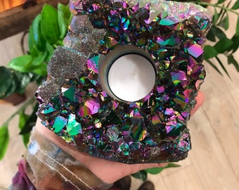 XL AURA amethyst Cluster Candle holder - crystal candle - free tealight // rainbow candle