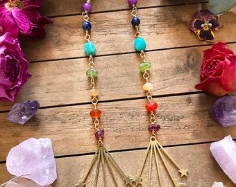 BRASS CELESTIAL EARRINGS // gemstone dangle earrings // moon earrings // chakra