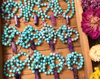 """Hand knotted CRYSTAL necklace //AMETHYST & AMAZONITE //  gemstone necklace // 16"""" long"""