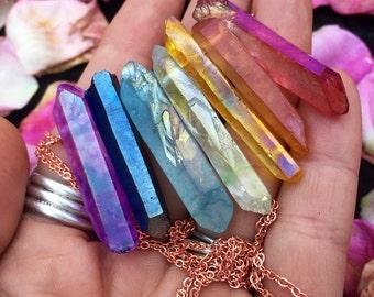 Aura quartz chakra inspired necklace - Any length , any color wire - rainbow necklace