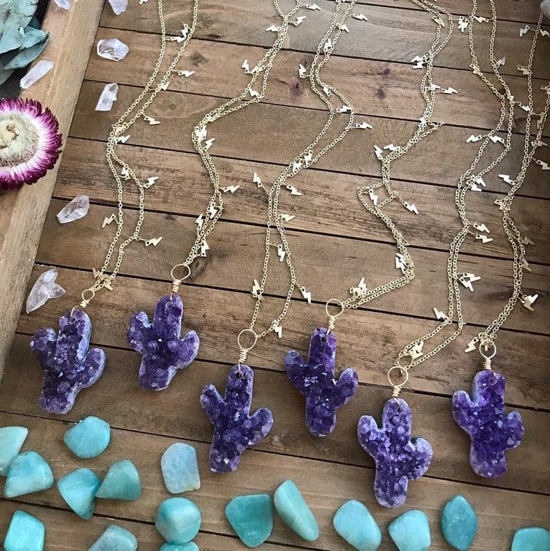 AMETHYST CACTUS LIGHTENING charm necklace // gold // sparkle image 0
