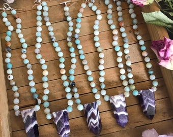"""Hand knotted CRYSTAL necklace // Chevron AMETHYST & AMAZONITE //  gemstone necklace // 16"""" long"""