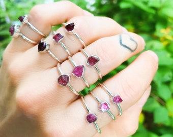 SIZE 4 PINK TOURMALINE Raw Ring // .925 Sterling Silver // diamond ring weddings