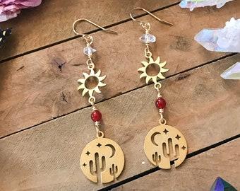 SUNSHINE CACTUS brass earrings // dangle earrings beaded // carnelian & herkimer