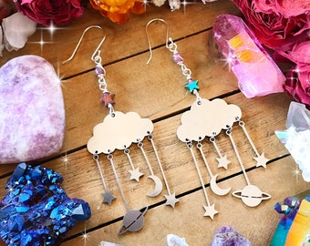 GALAXY EARRINGS // SILVER celestial dangle earrings // lepidolite & hematite