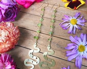 Garden SNAKE EARRINGS - PERIDOT // gemstone dangle earrings // moon earrings //