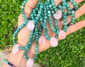 ORIGINAL ROSE CHOKER // Rose quartz & African turquoise necklace // beaded choker // bff // bridesmaid // crystal necklace