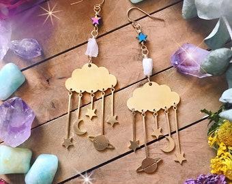 GALAXY EARRINGS // brass celestial dangle earrings // moonstone & hematite