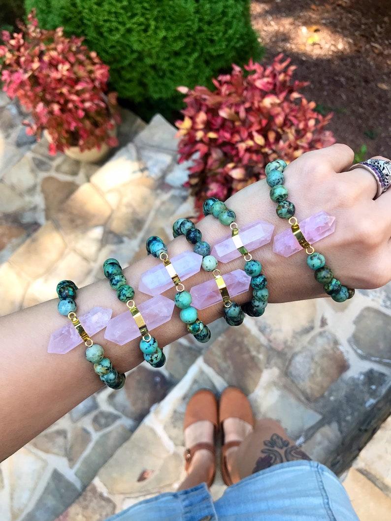 ROSE QUARTZ  AFRICAN TURQUOISe  // Stretch bracelet // image 0