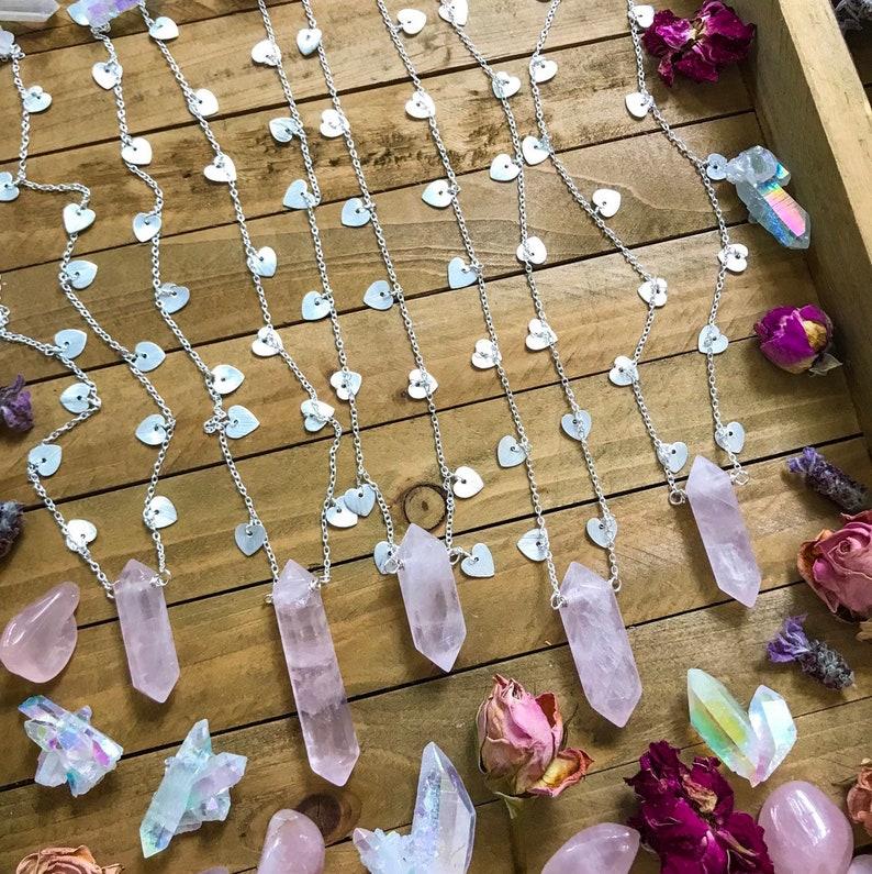 ROSE QUARTZ HEART charm necklace // silver // sparkle // magic image 0