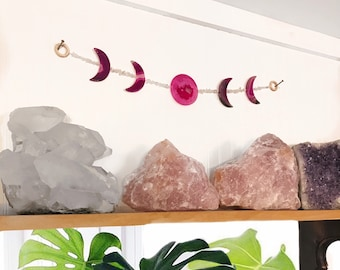 Pink AGATE MOON PHASE wall hanging