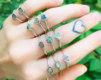 SIZE 7 LABRADORITE HEART Ring // .925 Sterling Silver // diamond ring wedding