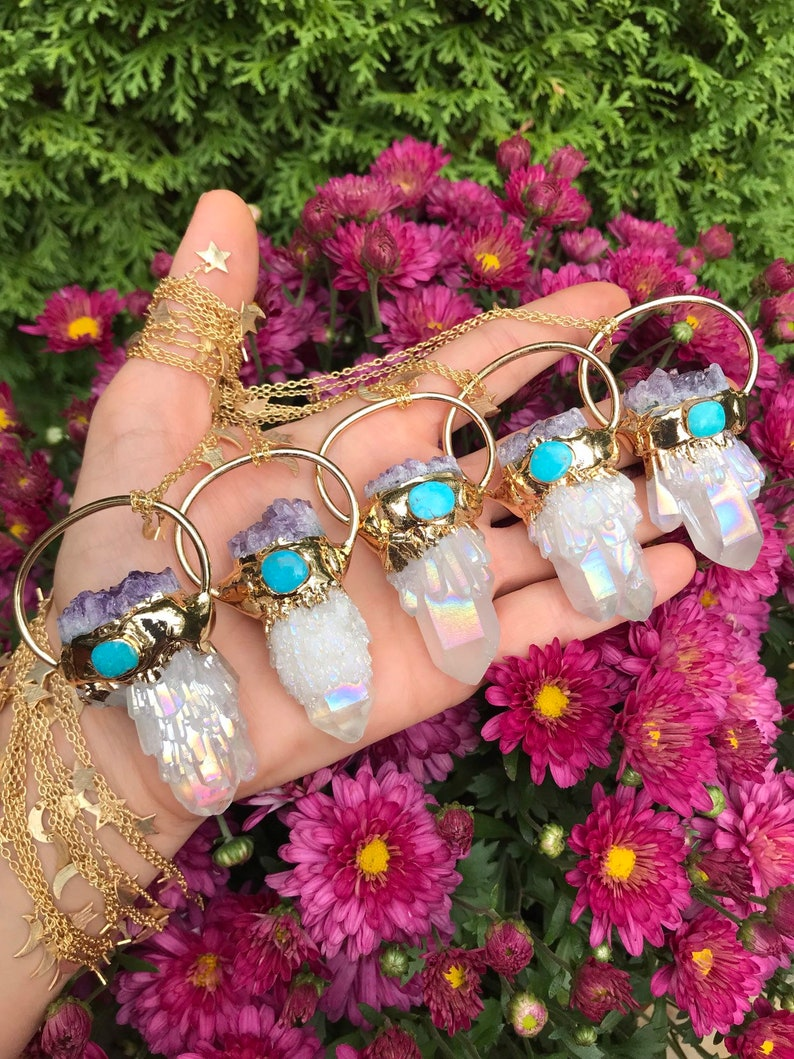 AURA QUARTZ  AMETHYST  Turquoise gold dipped // stars and image 0