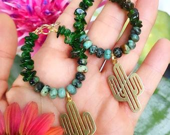 CACTUS // DIOPSIDE & AFRICAN TURQUOISe  brass earrings // dangle earrings beaded hoops