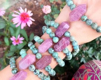 ROSE QUARTZ + African TURQUOISE // Stretch bracelet // stacking bracelet // gemstone jewelry